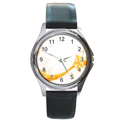 Flower Floral Yellow Sunflower Star Leaf Line Round Metal Watch by Mariart