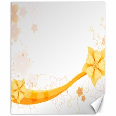 Flower Floral Yellow Sunflower Star Leaf Line Canvas 8  X 10  by Mariart
