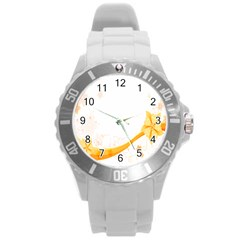 Flower Floral Yellow Sunflower Star Leaf Line Round Plastic Sport Watch (l) by Mariart