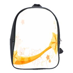 Flower Floral Yellow Sunflower Star Leaf Line School Bag (xl) by Mariart