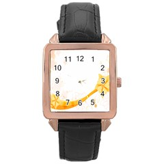 Flower Floral Yellow Sunflower Star Leaf Line Rose Gold Leather Watch  by Mariart