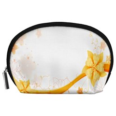 Flower Floral Yellow Sunflower Star Leaf Line Accessory Pouches (large)  by Mariart