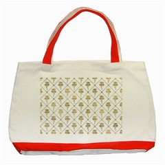 Flower Leaf Gold Classic Tote Bag (red)