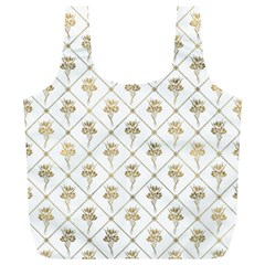 Flower Leaf Gold Full Print Recycle Bags (l)  by Mariart