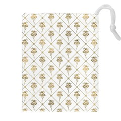 Flower Leaf Gold Drawstring Pouches (xxl) by Mariart