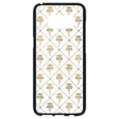Flower Leaf Gold Samsung Galaxy S8 Black Seamless Case by Mariart