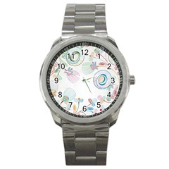 Flower Rainbow Circle Polka Leaf Sexy Sport Metal Watch by Mariart