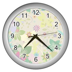 Flower Rainbow Star Floral Sexy Purple Green Yellow White Rose Wall Clocks (silver)  by Mariart