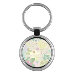 Flower Rainbow Star Floral Sexy Purple Green Yellow White Rose Key Chains (round)  by Mariart