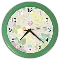 Flower Rainbow Star Floral Sexy Purple Green Yellow White Rose Color Wall Clocks by Mariart