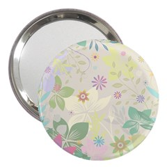 Flower Rainbow Star Floral Sexy Purple Green Yellow White Rose 3  Handbag Mirrors