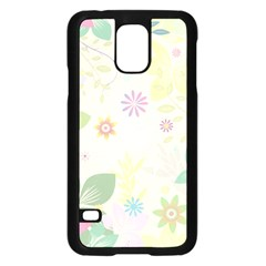 Flower Rainbow Star Floral Sexy Purple Green Yellow White Rose Samsung Galaxy S5 Case (black) by Mariart