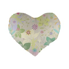 Flower Rainbow Star Floral Sexy Purple Green Yellow White Rose Standard 16  Premium Flano Heart Shape Cushions by Mariart
