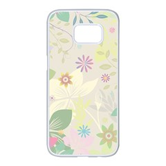 Flower Rainbow Star Floral Sexy Purple Green Yellow White Rose Samsung Galaxy S7 Edge White Seamless Case