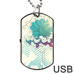 Flower Rose Purple Sunflower Lotus Dog Tag Usb Flash (two Sides) by Mariart