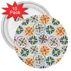 Flower Rainbow Fan Sunflower Circle Sexy 3  Buttons (10 Pack)  by Mariart