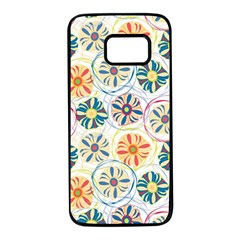 Flower Rainbow Fan Sunflower Circle Sexy Samsung Galaxy S7 Black Seamless Case by Mariart