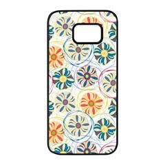 Flower Rainbow Fan Sunflower Circle Sexy Samsung Galaxy S7 Edge Black Seamless Case by Mariart