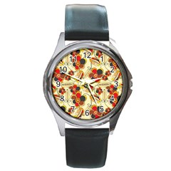 Flower Seed Rainbow Rose Round Metal Watch by Mariart