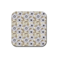 Flower Rose Sunflower Gray Star Rubber Square Coaster (4 Pack)  by Mariart