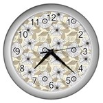 Flower Rose Sunflower Gray Star Wall Clocks (Silver)  Front