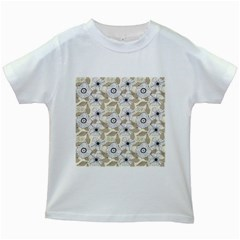 Flower Rose Sunflower Gray Star Kids White T Shirts