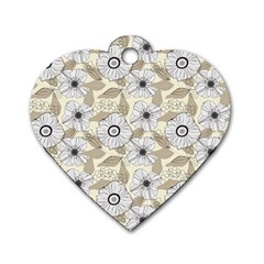 Flower Rose Sunflower Gray Star Dog Tag Heart (one Side)