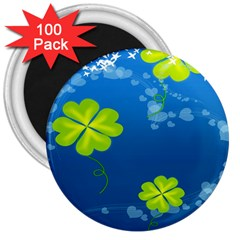 Flower Shamrock Green Blue Sexy 3  Magnets (100 Pack) by Mariart