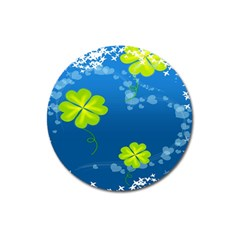Flower Shamrock Green Blue Sexy Magnet 3  (round) by Mariart