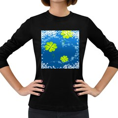 Flower Shamrock Green Blue Sexy Women s Long Sleeve Dark T Shirts