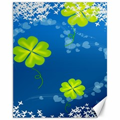 Flower Shamrock Green Blue Sexy Canvas 11  X 14   by Mariart