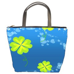 Flower Shamrock Green Blue Sexy Bucket Bags by Mariart