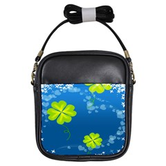 Flower Shamrock Green Blue Sexy Girls Sling Bags by Mariart