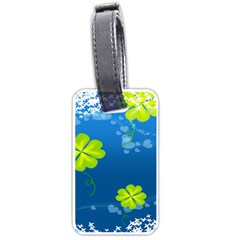 Flower Shamrock Green Blue Sexy Luggage Tags (two Sides) by Mariart