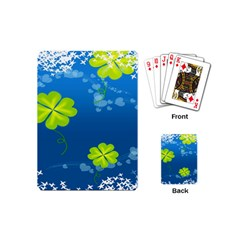 Flower Shamrock Green Blue Sexy Playing Cards (mini)  by Mariart