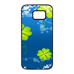 Flower Shamrock Green Blue Sexy Samsung Galaxy S7 Edge Black Seamless Case by Mariart
