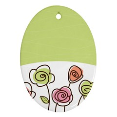 Flower Simple Green Rose Sunflower Sexy Oval Ornament (two Sides) by Mariart