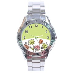 Flower Simple Green Rose Sunflower Sexy Stainless Steel Analogue Watch by Mariart