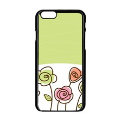 Flower Simple Green Rose Sunflower Sexy Apple Iphone 6/6s Black Enamel Case by Mariart