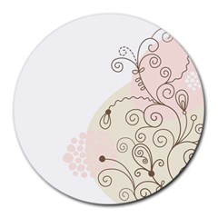 Flower Simple Pink Round Mousepads by Mariart