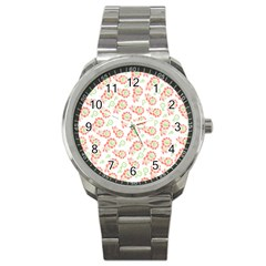 Flower Rose Red Green Sunflower Star Sport Metal Watch by Mariart