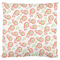 Flower Rose Red Green Sunflower Star Large Cushion Case (two Sides) by Mariart