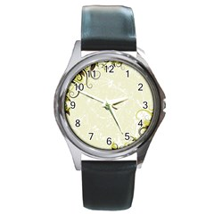 Flower Star Floral Green Camuflage Leaf Frame Round Metal Watch by Mariart