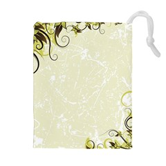 Flower Star Floral Green Camuflage Leaf Frame Drawstring Pouches (extra Large) by Mariart