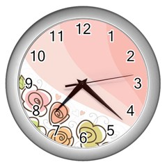 Flower Sunflower Wave Waves Pink Wall Clocks (silver)  by Mariart