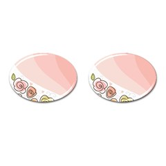 Flower Sunflower Wave Waves Pink Cufflinks (oval)