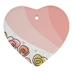 Flower Sunflower Wave Waves Pink Heart Ornament (two Sides) by Mariart