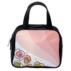Flower Sunflower Wave Waves Pink Classic Handbags (one Side) by Mariart