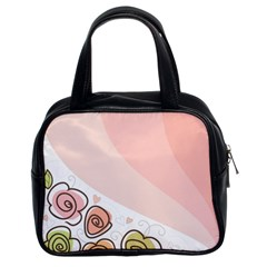 Flower Sunflower Wave Waves Pink Classic Handbags (2 Sides) by Mariart