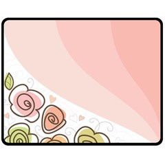 Flower Sunflower Wave Waves Pink Fleece Blanket (medium)  by Mariart